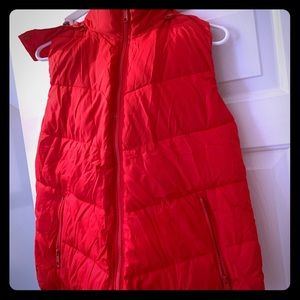 Red puffer vest with hood